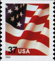 2004 37c American Flag, SA, Coil Scott 3632c Mint F/VF NH - $1.95
