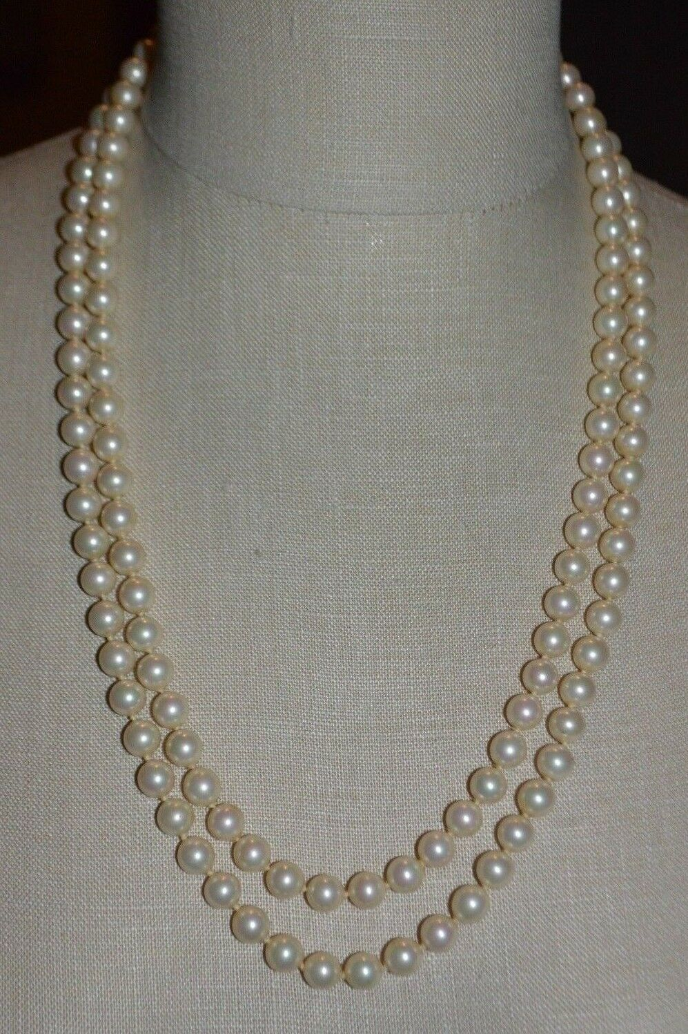 Primary image for VENDOME Faux Glass Pearl Clear Rhinestone Wedding Dual Strand Necklace Vintage