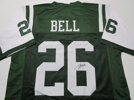 LE'VEON BELL / AUTOGRAPHED NEW YORK JETS GREEN CUSTOM FOOTBALL JERSEY / COA image 1