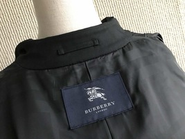 100% AUTHENTIC BURBERRY LONDON CLASSIC BLACK WOOL TRENCH COAT JAPAN  image 8