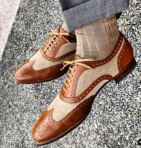 Handmade Men's Tan Suede Brown Leather Wing Tip Heart Medallion Lace Up Boots image 1