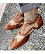 Handmade Men's Tan Suede Brown Leather Wing Tip Heart Medallion Lace Up ... - $149.99