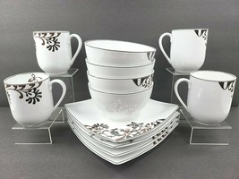 12 Mikasa Gourmet Basics Chocolate Swirl IND04 Set Porcelain Plate Bowl... - $118.47