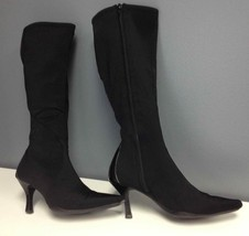 NINE WEST Black Stretchy Fabric Side Zip Knee High Pointy Toe Boots Sz 7... - $29.10