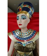 Egyptian Rare Queen Nefertiti Porcelain Franklin Heirloom Doll 1983 Gold... - $311.84