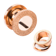 PAIR-Sand Blasted Top Rose Gold Plate Screw On Ear Tunnels 05mm/4 Gauge ... - $9.99