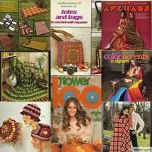 Vintage Knitting Crochet Patterns Afghans 70s Retro Rad Designs You Pick  - $9.18+