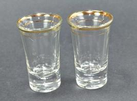 Two Vintage Flared Gold Rim Tall Shot glasses  - $5.99