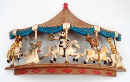 1979 Homco Universal Statuary Circus Animals Carousel Wall Hanging Brass Ring image 2