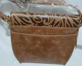 Simply Noelle Brand Tan Brown Color Floral Leaf Pattern Womens Purse image 5