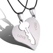 Couple Necklaces Set Pendant Necklace Engrave I Love You Matching Hearts Key 316 - $8.36