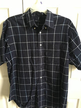 Nautica Mens button down short sleeve checkered plaid shirt Sz Large - $25.00