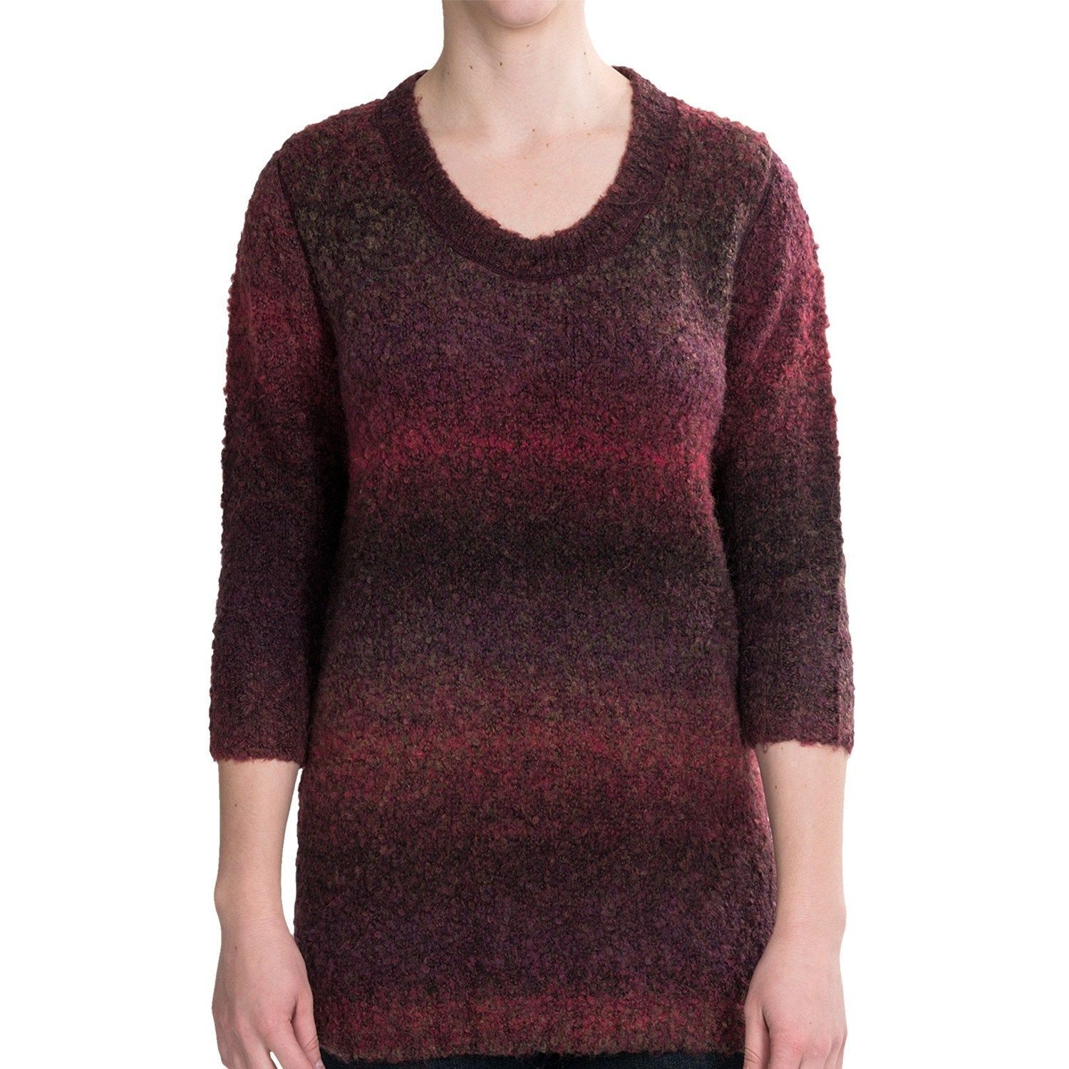 Woolrich Women's West Wind Pullover Ombre Sweater Ruby Spaced Dyed Large NWT