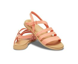 Crocs Tulum Women's Sandal 206107-82R Buckle Strap Grapefruit/Tan Sz 6 7 8 10 - $19.96