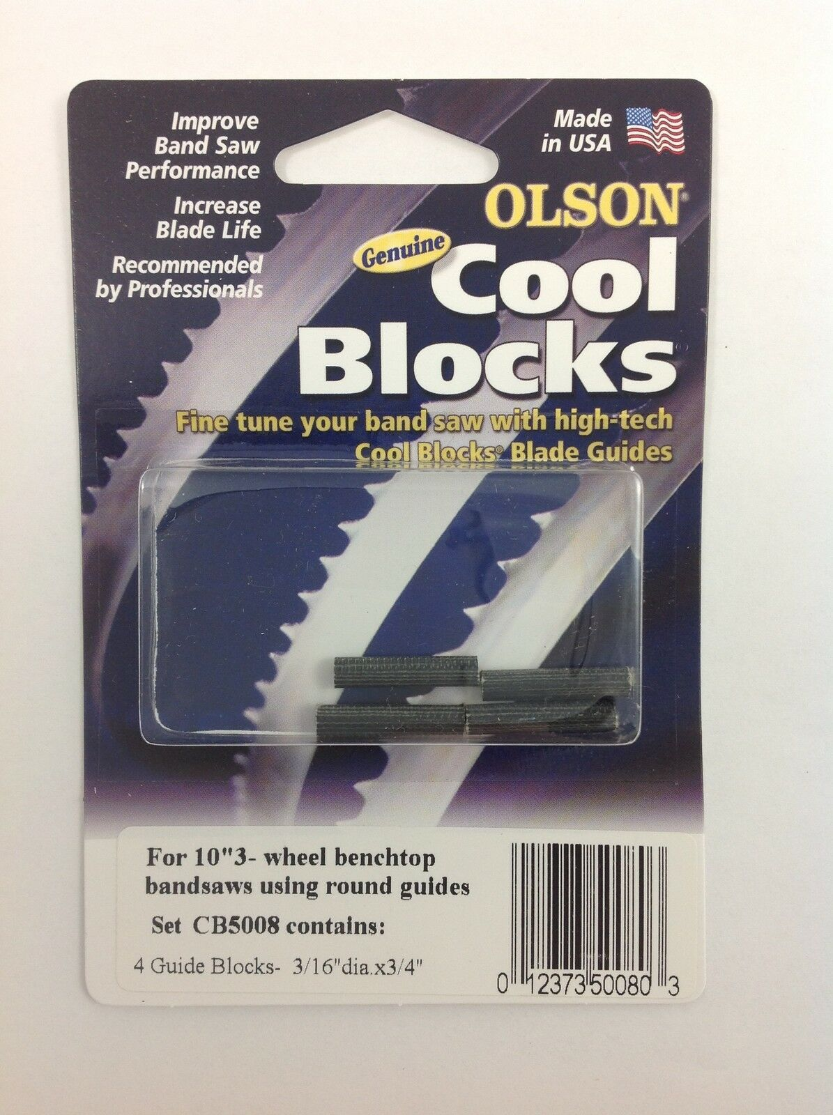 "Olson Cool Blocks Band Saw Guides, CB50080 Round for 10"" 3-Wheel Benchtop Saws - $16.99"