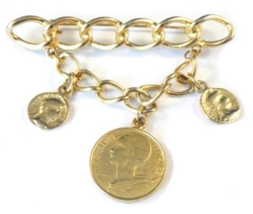 Vintage Faux 3 Coin Charm Pin Brooch Dangle Chains Goldtone - $9.99