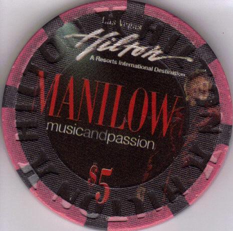 $5 Ltd Edition 5000 BARRY MANILOW Las Vegas Hilton Las Vegas Casino Chip