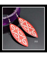 Beautiful Red  Lucite Earrings with Gold Design - $13.95