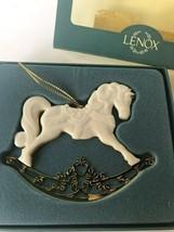 Lenox Porcelain Ceramic Ornament Gold Backing Rocking Horse Christmas Tr... - $13.00