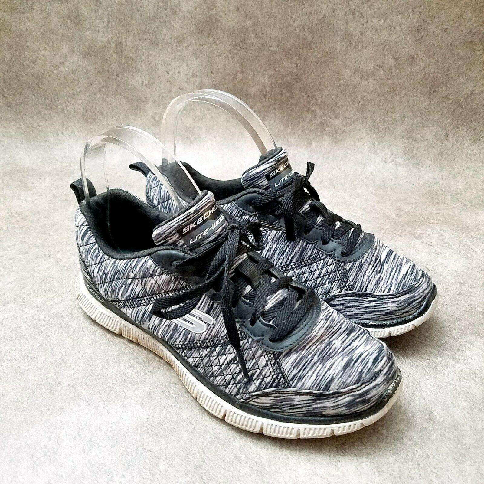 Skechers Womens Lite Walk 12453TX Sz 7 M Black White Running Shoes - $31.99