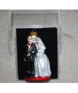 "Bride & Groom Wedding Hand Crafted Glass Christmas Ornament 4"" Target Da... - $24.70"