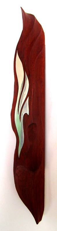 Hand-carved Mezuzah in the shape of a FLAME(red