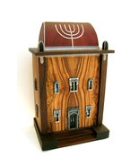 "Hand-carved CHARITY-DONATION BOX(TZEDAKAH) ""SYNAGOGUE"" - $1,700.00"
