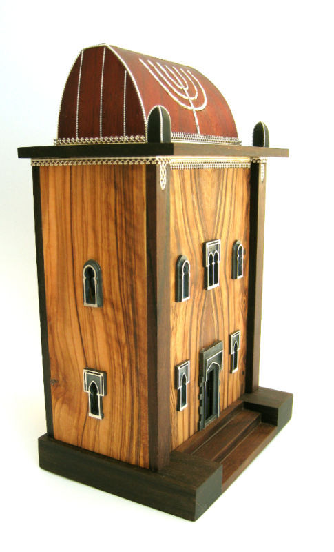 "Hand-carved CHARITY-DONATION BOX(TZEDAKAH) ""SYNAGOGUE"""