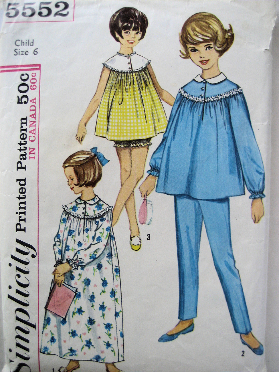 Primary image for Simplicity 5552 Vintage 1960's Pattern Girls Size 4 Nightgown  Baby Doll PJs