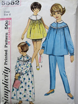Simplicity 5552 Vintage 1960's Pattern Girls Size 4 Nightgown  Baby Doll... - $9.95