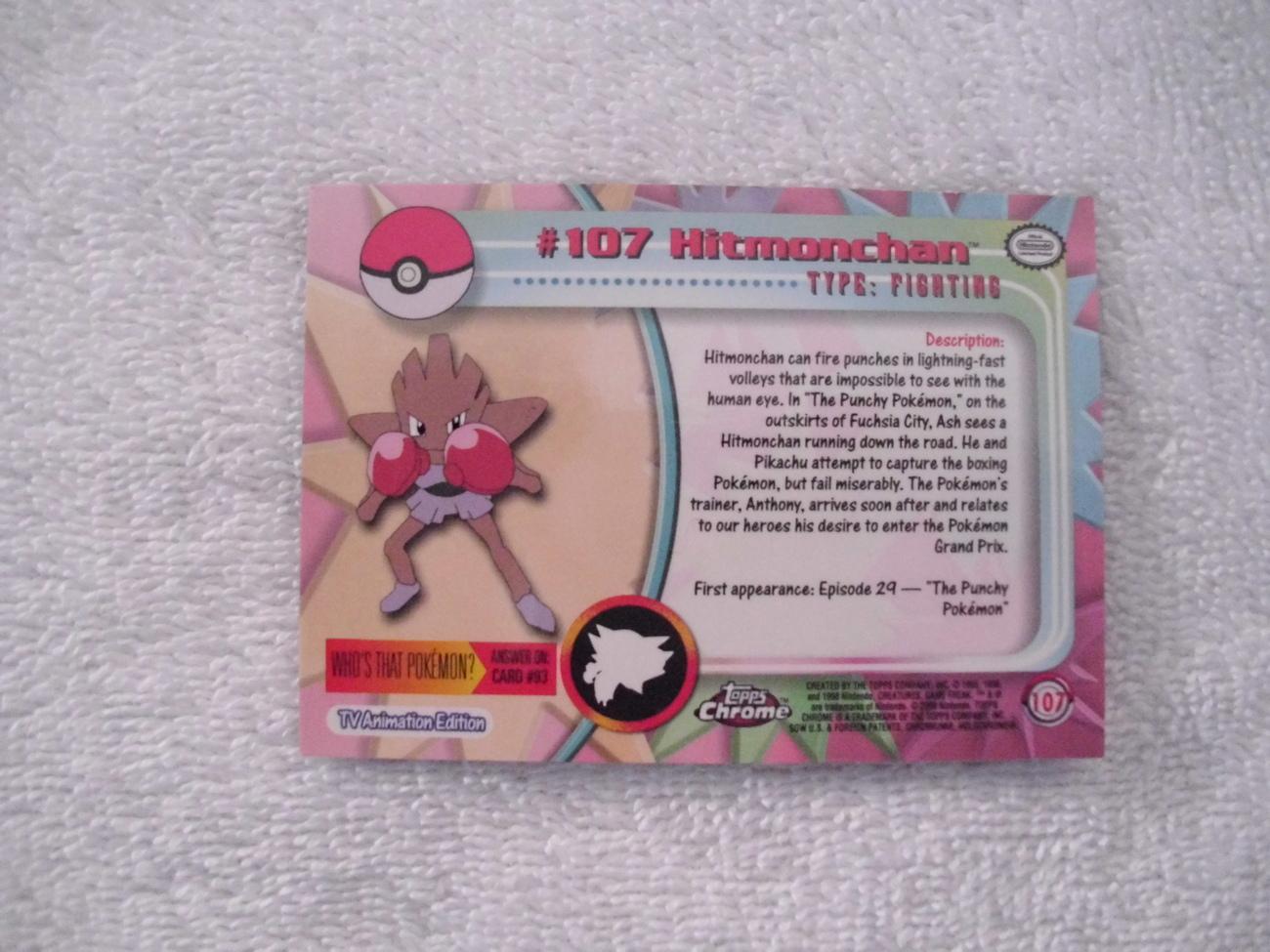 #107 HITMONCHAN  Pokemon card chrome