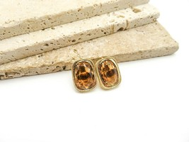 Vintage Sarah Coventry Topaz Brown Glass Gold Tone Clip On Earrings D68 - $16.99
