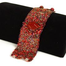 "BR801 Cabochon Crystal Glass Bead Wide 3"" Bracelet Artisan Finest Assort... - $12.59"