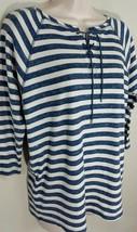 Chaps Three Quarter Sleeve Waffle Knit Blue Striped Lace-Up Shirt Sz S NWT $59 - $19.99