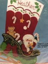 Santas Surprises Felt Appliqué Christmas Stocking Kit 82729 Sleigh Toys ... - $32.98