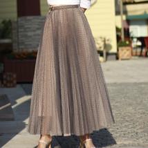 Black Polka Dot Tulle Skirt Black Pleated Tulle Midi Skirt image 13