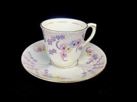 Vtg Colclough Bone China Purple Floral Demitasse Teacup Saucer Made Engl... - $23.21