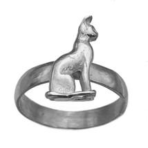 Bast Bastet 3D Egyptian Egypt Genuine Sterling Silver 925 Ring Cat Goddess - $53.46