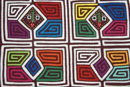 Kuna Abstract Traditional Art Mola Hand stitched Applique Shaman Nuchu F... - $37.99