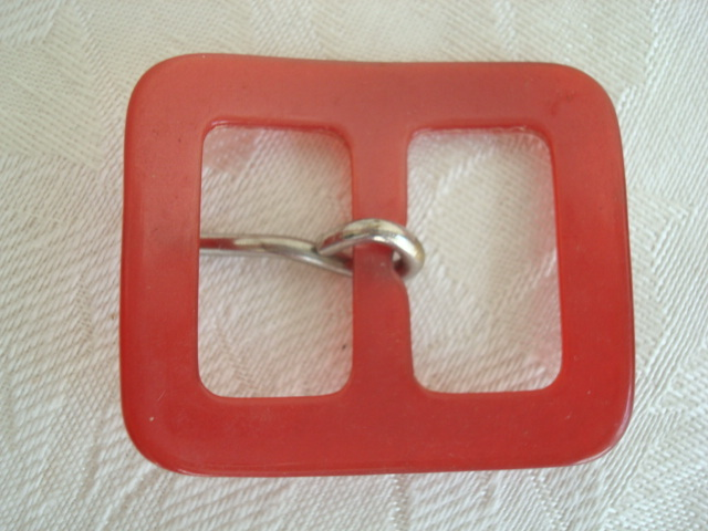 Vintage Red Lucite Buckle