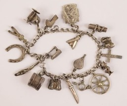 Vintage Sterling Silver 925 Charm Bracelet with 18 Charms - $99.95
