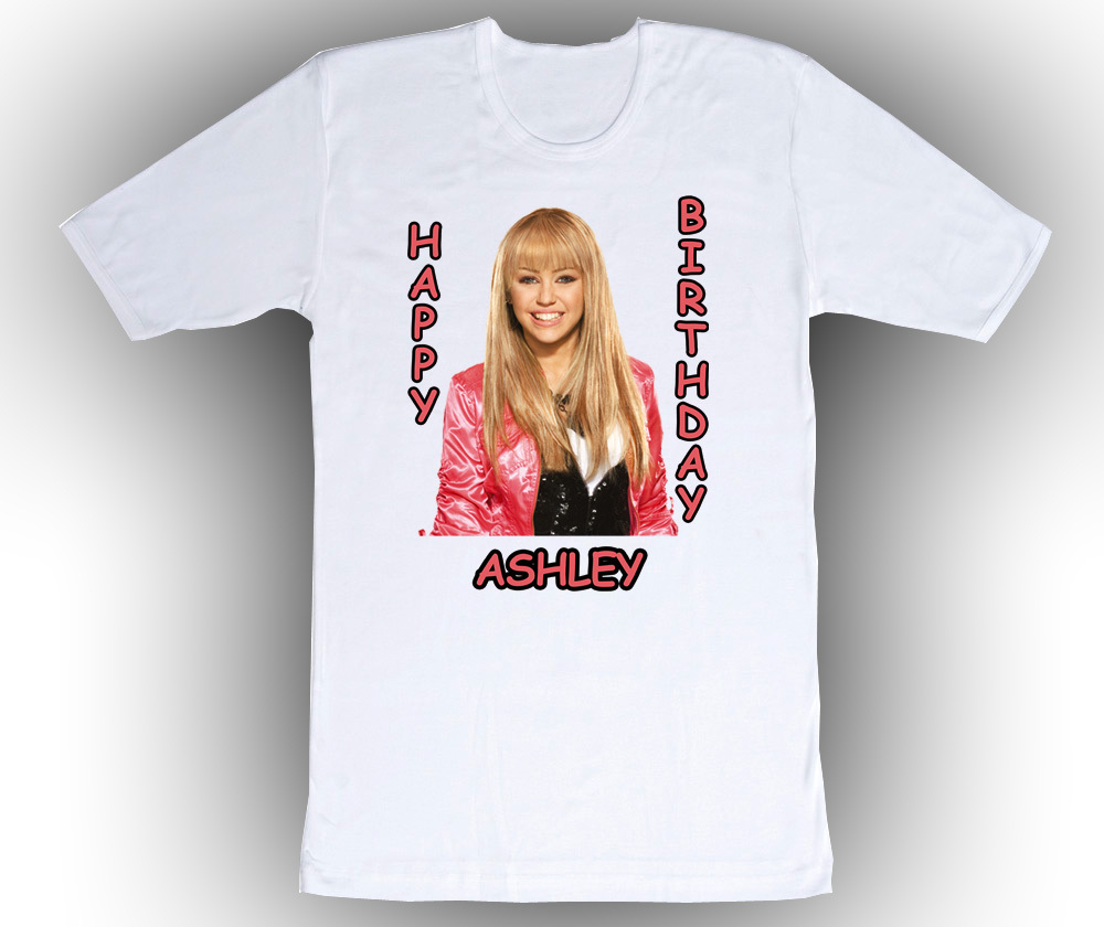 Personalized Hannah Montana Birthday T-Shirt Gift #1