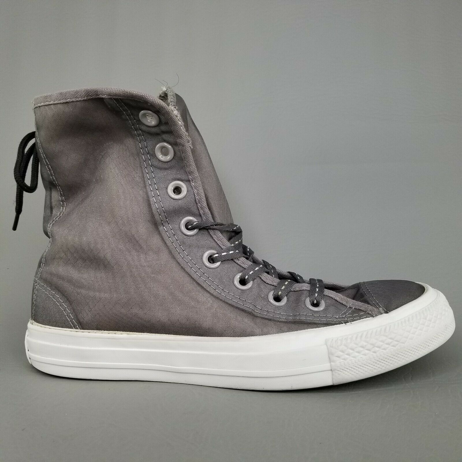 Converse CTAS Back Lace Hi Top Shoes Womens SZ 8 See Through Chucks Gray White image 3