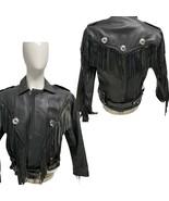 Silver Hawk Biker Gear Men 42 Black Leather Jacket Motorcycle Belted Fringe - $89.00