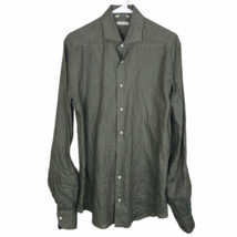 Suit Supply Pure Linen Button Front Dress Shirt 40-7 15 3/4 L Olive Gree... - $39.50