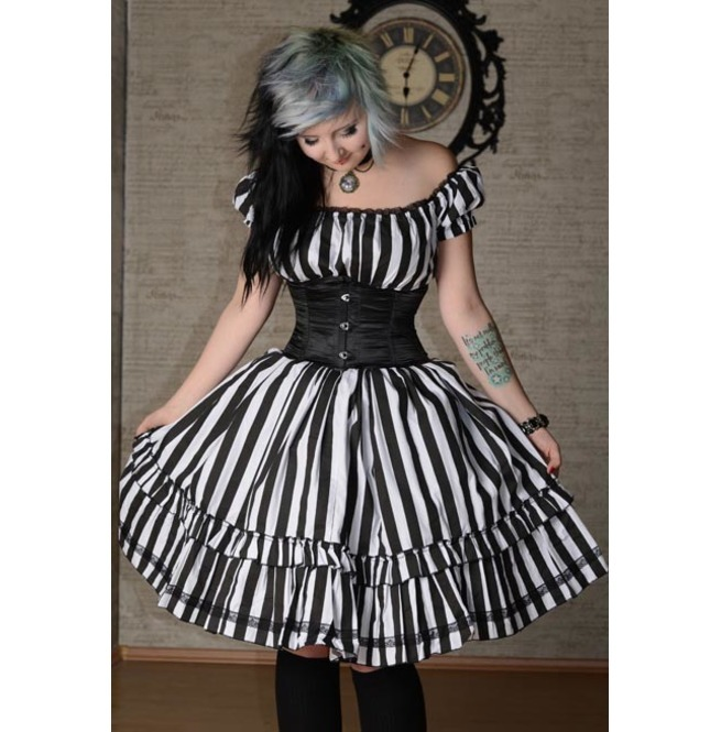 NWT Black White Striped Gothic Rockabilly Pirate Corset Dress
