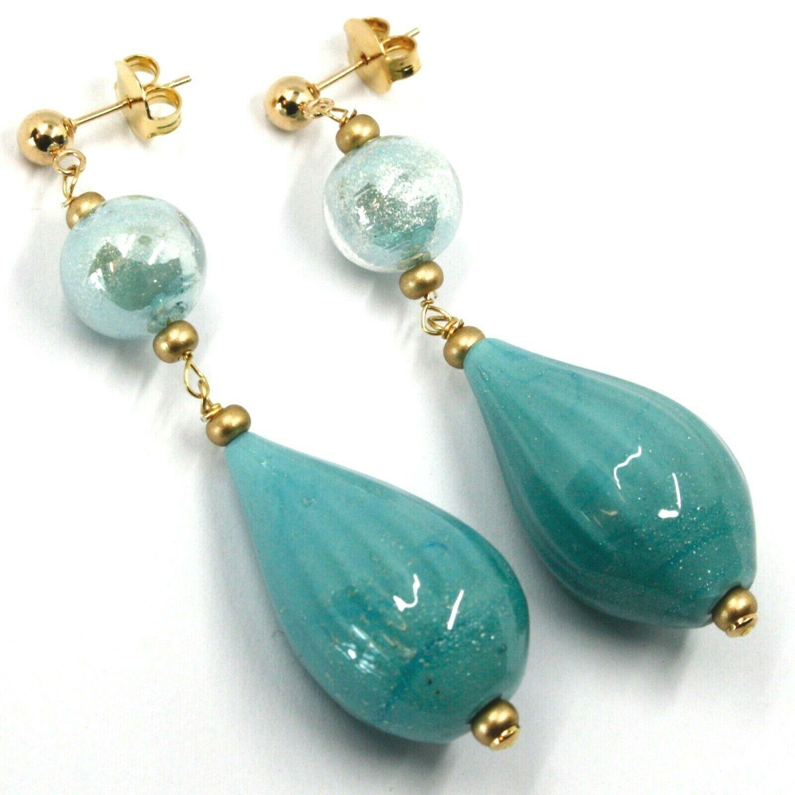 Earrings Antica Murrina Venezia, OR631A07, Hanging, Drop Glass Blue 3cm