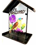 Birds & Flowers Welcome Bird Feeder Metal Handpainted Glass 11 inches Tall - $44.54
