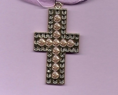 Artesian Metal Etched Roses Cross pendant on Voile Cord on clearance
