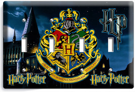 Harry Potter Hogwarts Castle Coat Of Arms Light Switch 4 Gang Wall Plates Decor - $20.99